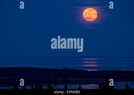 Moon rising over Discovery Island and water-Victoria, British Columbia, Canada. - Stock Photo