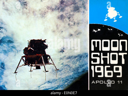 Vintage postcard of view of planet Earth and the Lunar Module Eagle Apollo 11 with text Moon Shot 1969   KATHY DEWITT - Stock Photo
