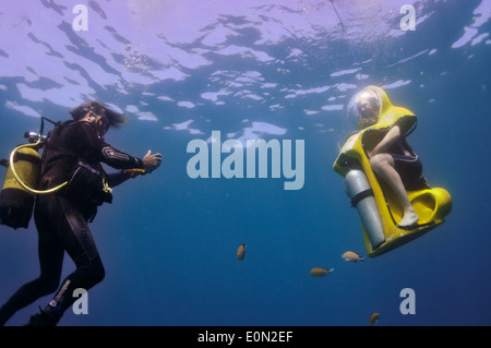 BOB 'The Breathing Observation Bubble' scooter diver underwater with scuba diver, Tenerife - Stock Photo