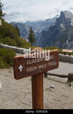 Glacier point four mile trail Yosemite national park California USA - Stock Photo