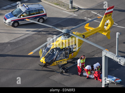 ÖAMTC Rettungshubschrauber im Einsatz - ÖAMTC rescue helicopter - Stock Photo