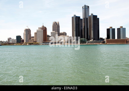 Detroit skyline shot from the Canadian side in May of 2014. - Stock Photo