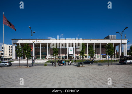 The Palace of Culture, Skanderbeg Square, Tirana, Albania - Stock Photo