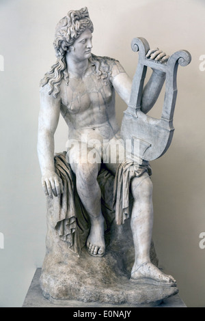 Apollo at rest on Mount Parnassus, Ludovisi Collection, National Roman Museum, Palazzo Altemps, Rome, Italy - Stock Photo