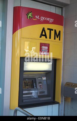 australian bank, st george, and an ATM cash dispenser machine in Avalon,sydney,NSW,australia - Stock Photo