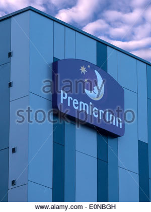 Premier Inn Hotel Sign - Stock Photo