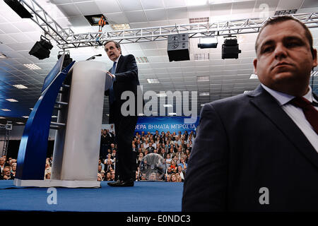 Thessaloniki, Greece. 15th May, 2014. Visit of Antonis Samaras in Thessaloniki, for a pre elections speech, two - Stock Photo
