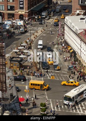 Overhead view of New York street from Gansevoort Hotel - Stock Photo