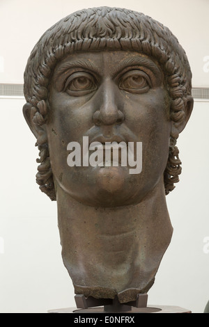 head of Colossal bronze statue of Constantine, Capitoline Museums, Rome, Italy - Stock Photo