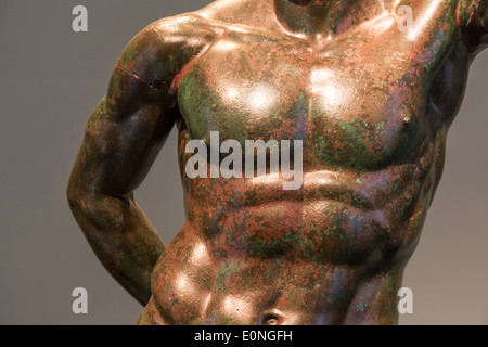 detail of Bronze statue of a prince, 3rd-2nd centuries BCE. National Museum of Rome, Palazzo Massimo, Italy - Stock Photo