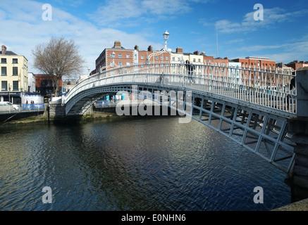 Ha'penny Bridge River liffey Dublin Ireland - Stock Photo