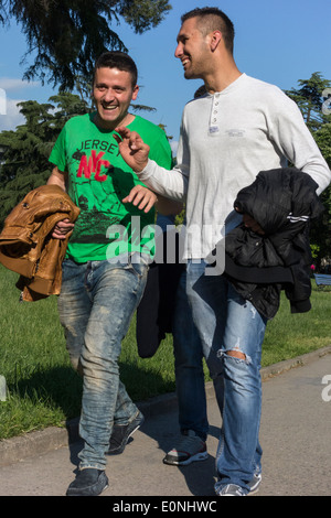 men walking in park, Tirana, Albania - Stock Photo