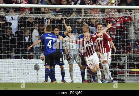 Copenhagen, Denmark. 15th May, 2014. DBU Cup final. AAB versus FC Copenhagen. Rasmus Thelander, AAB scores for 2 - Stock Photo