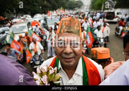 (140517) -- VISAKHAPATNAM, May 17, 2014 (Xinhua) -- A supporter of India's main opposition Bharatiya Janata Party - Stock Photo