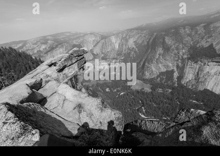 Beautiful view from Glacier Point, Yosemite on a cloudy morning in black and White - Stock Photo