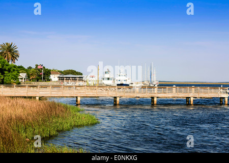 St. Marys River landing dock for Cumberland Island in Georgia - Stock Photo