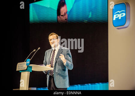 Barcelona, Spain. May 17th, 2014: Spanish Prime Minister Mariano Rajoy adresses supporters at a meeting in Barcelona - Stock Photo