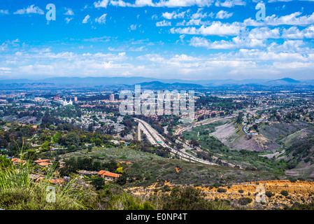 View from Mount Soledad Natural Park. Interstate 5 in the center of the image. Looking northeast.  La Jolla, California, - Stock Photo
