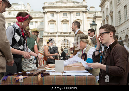 London, UK. 17th May 2014. Registation for this year's London Tweed Run Credit:  Neil Cordell/Alamy Live News - Stock Photo