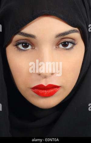 Portrait of an arab saudi emirates woman with plump red lips make up - Stock Photo