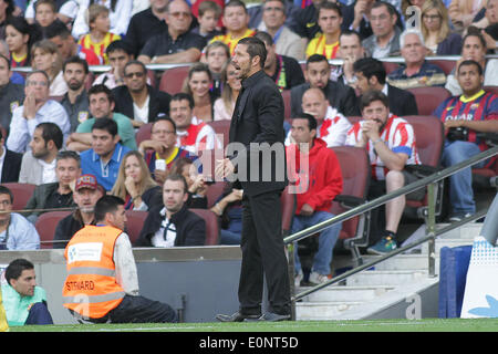 Barcelona, Spain. 17th May, 2014. Simeone during the spanish league match between FC. Barcelona and Atletico de - Stock Photo