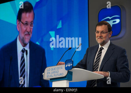 Barcelona, Spain. 17th May, 2014. Spain's Prime Minister Mariano Rajoy, attends a campaign rally for Spain's Popular - Stock Photo