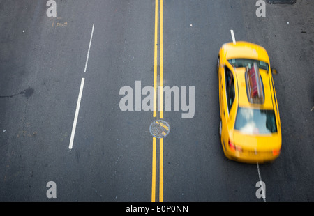 Taxi and street scene in Chelsea, New York - Stock Photo