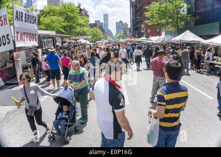 Hells Kitchen, New York City, Saturday, May 17 2014, USA: opening day of 2 day weekend 9th Avenue International - Stock Photo