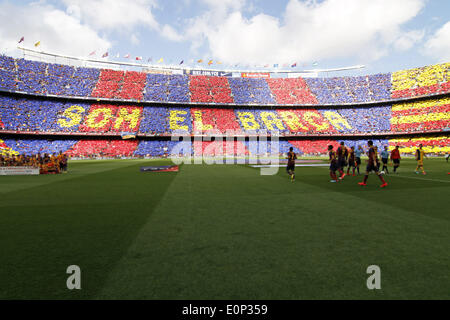 Barcelona, Spain. 17th May, 2014. supporters in the match between FC Barcelona and Atletico de Madrid, for Week - Stock Photo