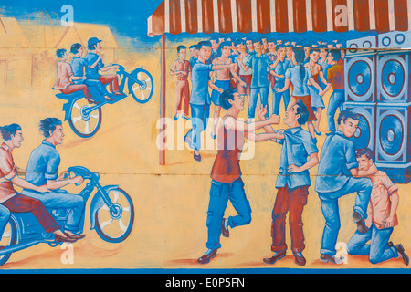 Educational billboard to stop violence at parties - Kampong Thom province, Cambodia - Stock Photo