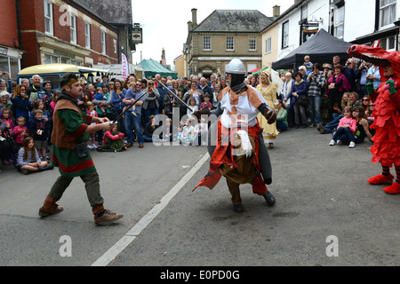 Mummers Play performing The Green Man Festival at Clun in Shropshire - Stock Photo
