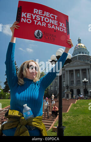 Denver, Colorado. Environmentalists rally at the Colorado state capitol to oppose the planned Keystone XL pipeline, - Stock Photo