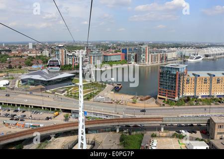 Emirates Air Line Cable Car at Royal Victoria Dock, London, England, UK. - Stock Photo
