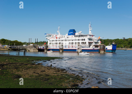 St Cecilia wightlink ferry docking at the fishbourne ferry terminal on the isle of wight in hampshire UK - Stock Photo