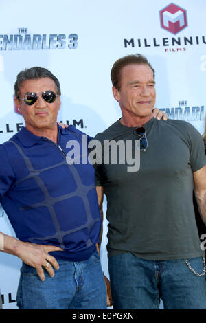 Actors Arnold Schwarzenegger and Sylvester Stallone (l) attend the photocall of 'Expandables 3' during the 67th - Stock Photo