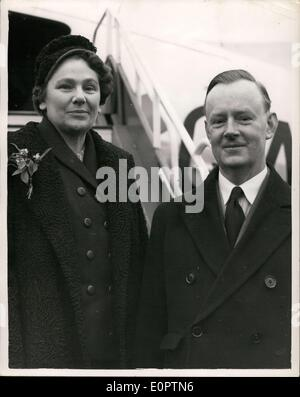 Feb. 19, 1957 - New British Ambassador to Russia-Leaves for Moscow. Sir Patrick Reilly: Sir Patrick Reilly and his - Stock Photo