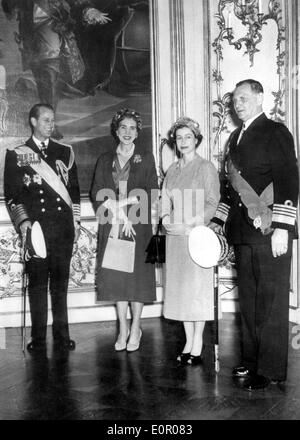 Queen Elizabeth II with Prince Philip, Queen Ingrid and King Frederick IX - Stock Photo