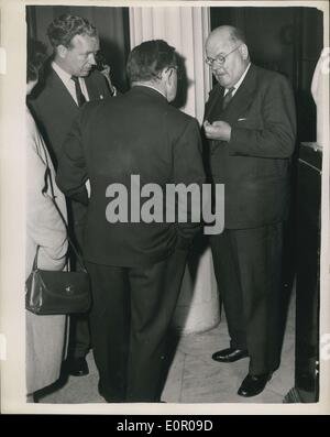 May 30, 1957 - Doctors and Surgeons watch operation on colour T.V. Dr. John Bodkin Adams Attends.: British and French - Stock Photo