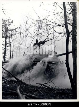 May 31, 1957 - Men of the Second Armored Cavalry an ''Agoressor'' Tank Hits a Hink During a Training Exercise COnducted - Stock Photo