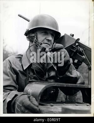 May 31, 1957 - Men of the Second Armored Cavalry - A Platoon Leader, Foreground, Communicates With a Tank Sergeant - Stock Photo