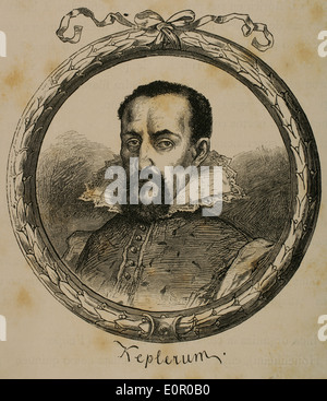 Johannes Kepler (1571-1630). German mathematician and astronomer. Engraving in Germania, 1882. - Stock Photo
