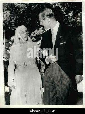 Jun. 06, 1957 - Princess Margarita of Baden weds. Duke of Edinburgh attends. The wedding took place on Thursday at Salem, west Germany, between Princess Margarita of Baden, niece of the duke of Edinburgh and prince Tomislav of Yugoslavia. The Duke of Edinburgh and other Royalty attended. photo shows The duke of Edinburgh seen with his mother, Princess Alice of Greece , at the wedding.