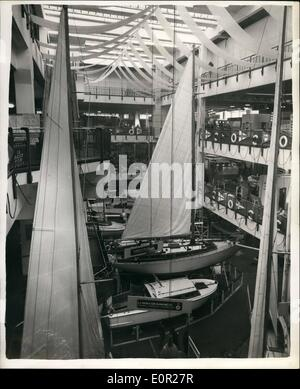Dec. 12, 1957 - Preparing for the National boat show. General view of the Exhibits: Preparations were going ahead - Stock Photo