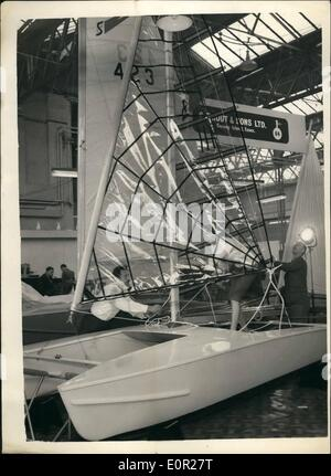 Dec. 12, 1957 - Preparing for the national, boat show. Transparent sails. Preparations were going ahead at Olympia - Stock Photo