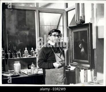 Oct. 18, 1957 - Art 'Detectives' Probe 30,000 Find Art Restorer Is Sure It Is Lost Rembradt: Art restorer Mr. Reg - Stock Photo