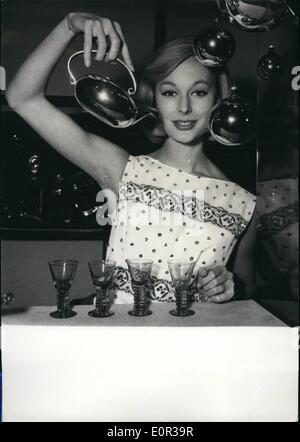 Nov. 11, 1957 - Gifts for Christmas: Sputnik at tea pot.: Christofle , the famous Paris Gold and Silverware dealer, - Stock Photo