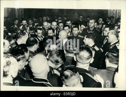Nov. 11, 1957 - Mr, Kruschev Attends Reception At Moscow Military Academy.: The cultural Committee of the Communist - Stock Photo