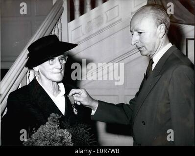 Jul. 07, 1958 - Cross of the Legion of Honour for Anna Stadler: On July 14, 1958, the National Day of the French, - Stock Photo