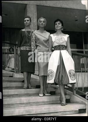 May 18, 1958 - The gowns which will be shown in the Brussels Festivall in the June, are modernized copies of the - Stock Photo