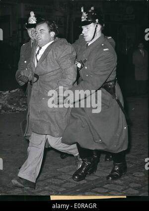 Nov. 11, 1958 - West Berlin police had to protect SED election demonstration: The West Berlin people demonstrated - Stock Photo